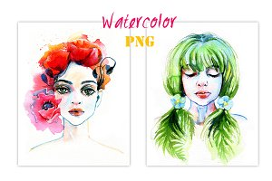 Watercolor floral portraits