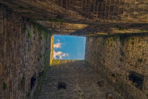 Inside a medieval tower