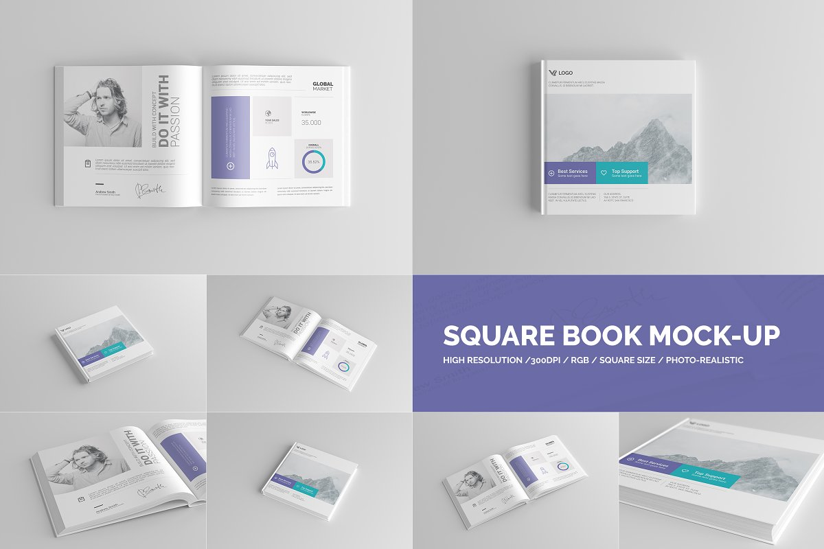 Square Book Mock-Up / Hardcover ~ Print Mockups ~ Creative
