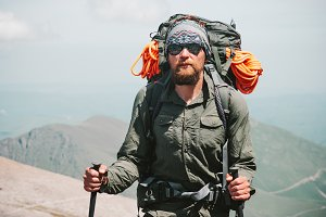 Bearded Man traveler hiking