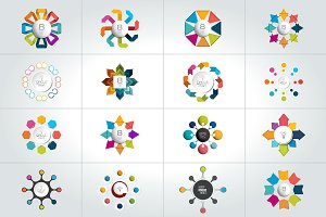 Mega set of circle infographics.