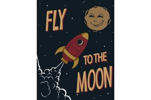 Retro poster.Funny rocket fly to the smiling moon