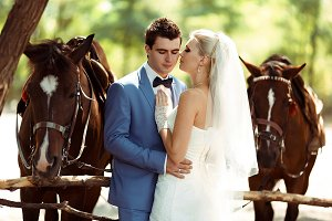 Gorgeous couple and horses