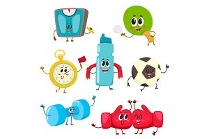 Set of funny sports equipment characters, cartoon illustration