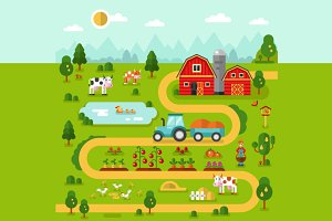 Farm Map Vector
