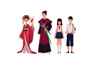 Japanese people - geisha and samurai, typical schoolgirl, schoolboy