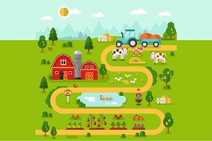 Farm Map Illustration Vector