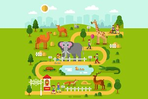 Zoo Map Vector Illustration