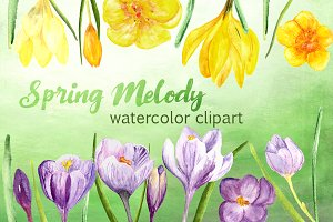 Spring Melody Watercolor Clipart Set