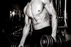 Young man exercising