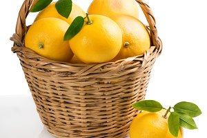 Grapefruits in a basket.
