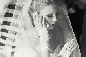 Bride talks on the phone