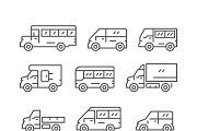 Set line icons of bus and van