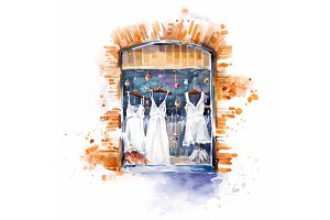 Shop window watercolor illustration