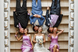 Groom and bride with friends