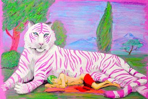 Painting gouache. Pink tiger lying on the grass next to him lies and sleeps naked girl