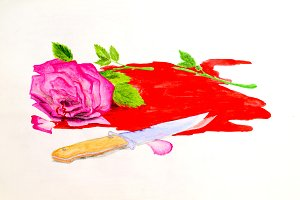 The rose and knife lying in a blood pool