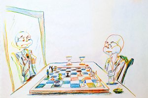 Dystrophic with a big head playing chess with himself in the mirror. loneliness symbol