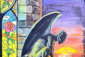 Gargoyley on a tower window sill