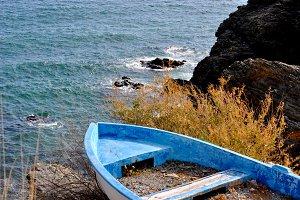 Blue boat stranded