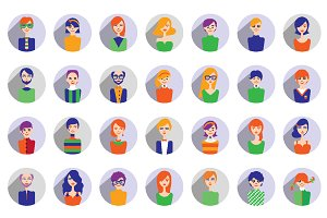 Big set of stylish people avatar.