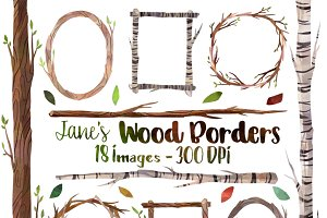 Watercolor Wooden Frames and Borders