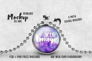 20 mm Pendant with Ball Chain Mockup