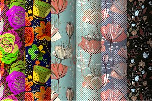 6 Colorful Floral Seamless Patterns
