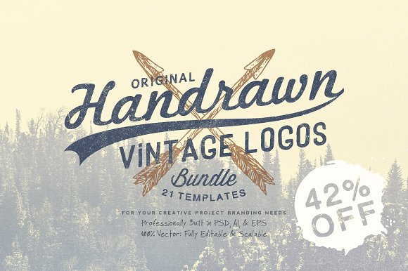 Hand Drawn Vintage Logos Bundle ~ Logo Templates ~ Creative Market