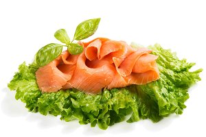 Slices of salmon decorated.
