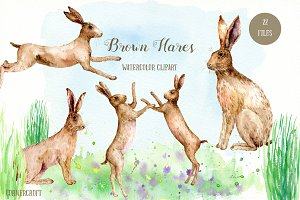 Watercolor Clipart Brown Hares
