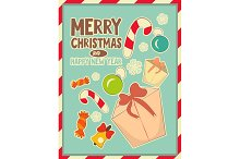 Christmas retro postcard with toys a