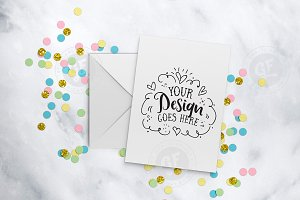 Greeting card confetti mockup