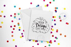 Rainbow confetti card mockup