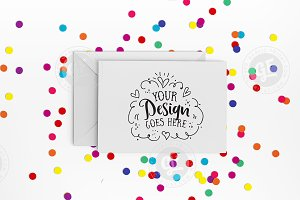 Bright confetti greeting card mockup