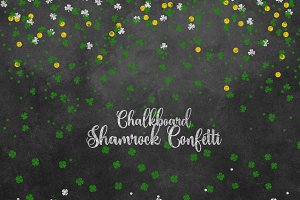 Chalkboard Shamrock Confetti Clipart