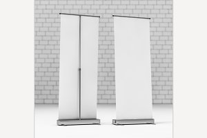 Blank Roll Up Banner. 3D rendering