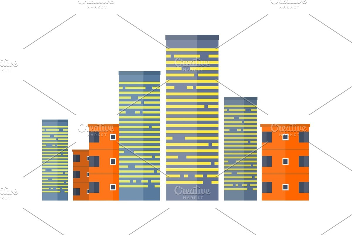 Skyscrapers and Buildings. Asian Multistorey House in Illustrations - product preview 8