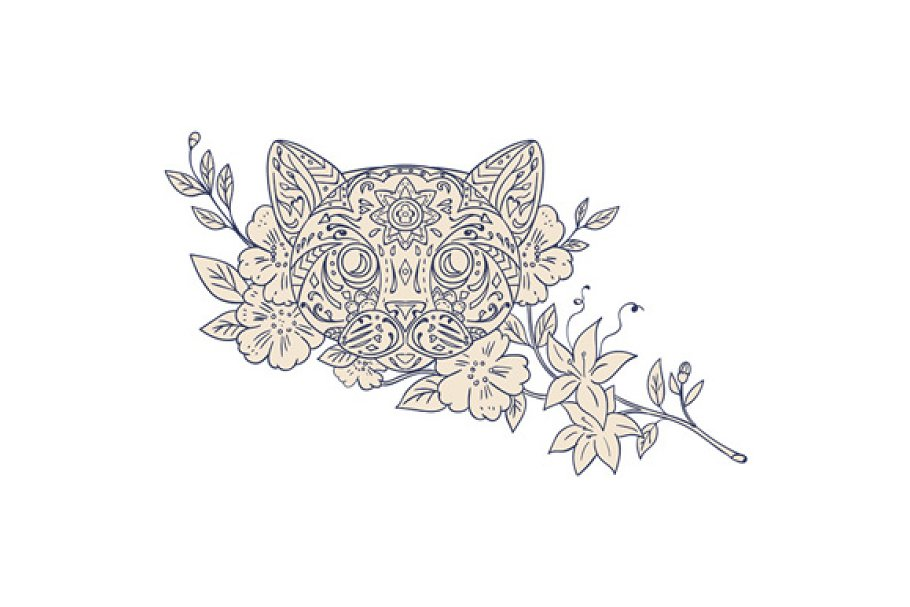 Cat Head Jasmine Flower Mandala in Illustrations - product preview 8
