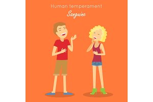 Sanguine Temperament Type People. Vector