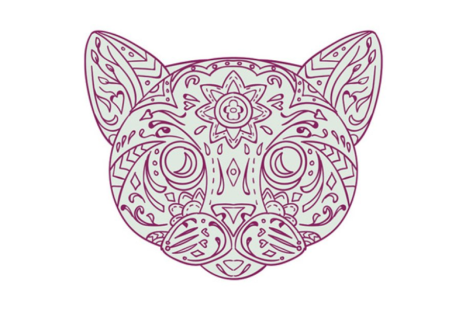 Cat Head Mandala in Illustrations - product preview 8