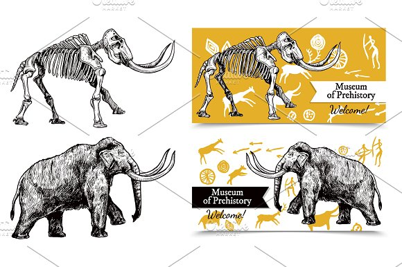 Mammoth Sketch Set in Illustrations - product preview 1