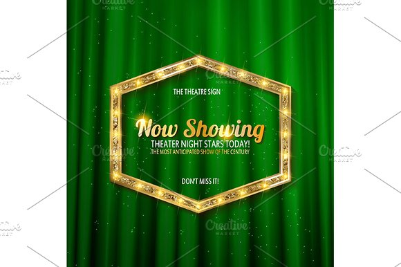 Golden frame with light bulbs in Graphics - product preview 3
