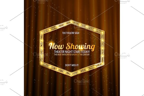 Golden frame with light bulbs in Graphics - product preview 4