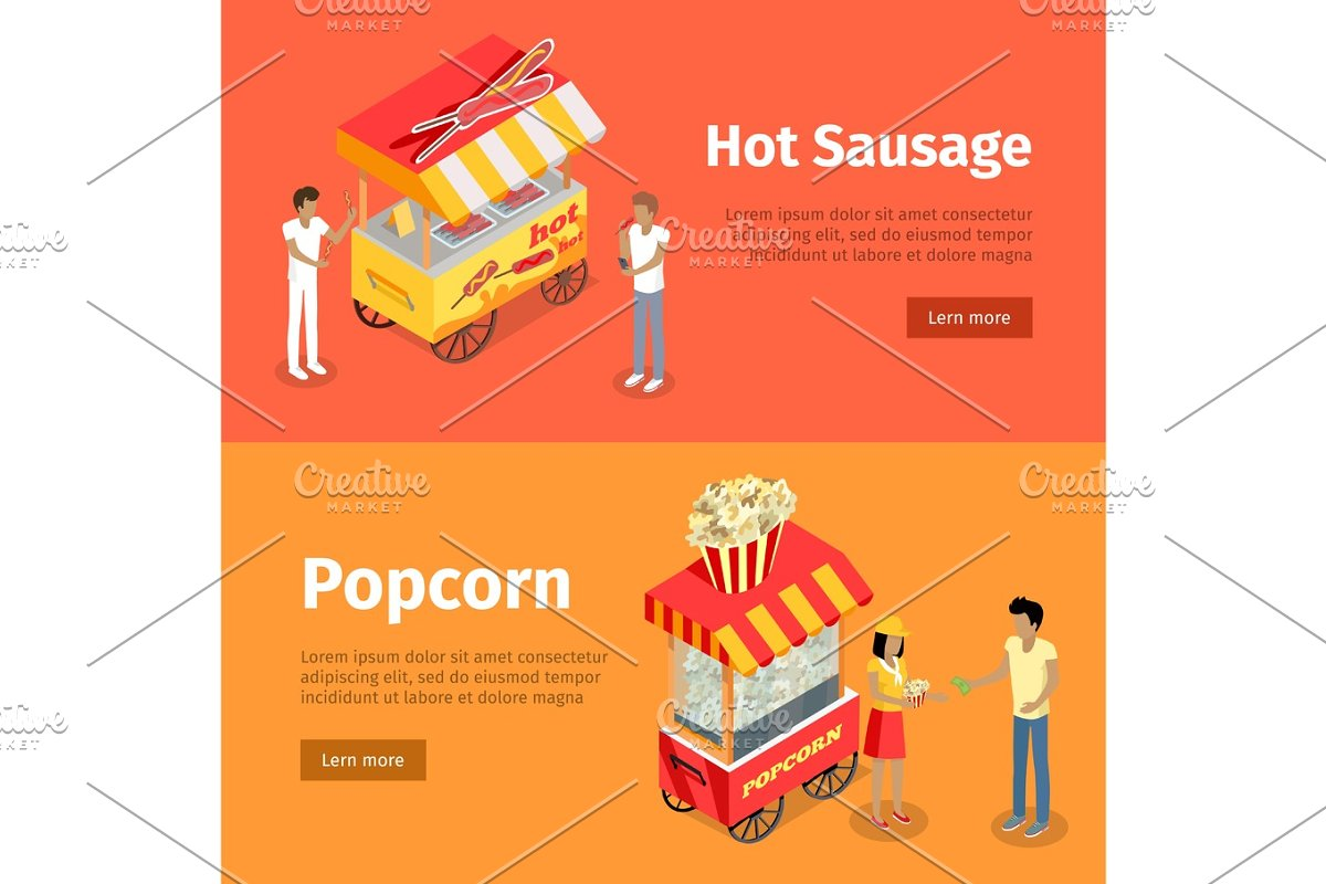 Hot Sausage and Popcorn Mobile Umbrella Carts in Objects - product preview 8