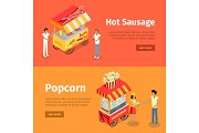 Hot Sausage and Popcorn Mobile Umbrella Carts
