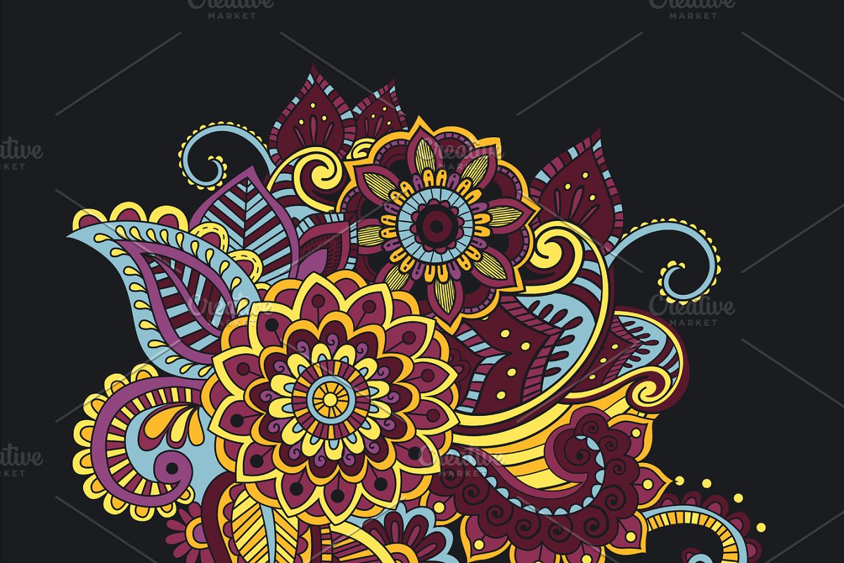 Flower Pattern Bright Abstract wallpaper vintage in Illustrations - product preview 8
