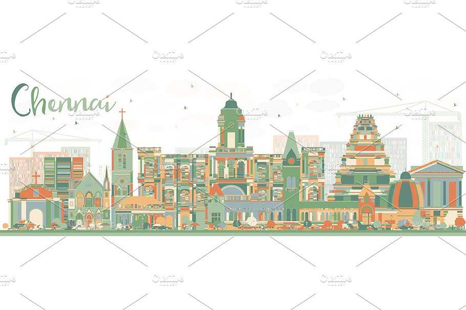 Abstract Chennai Skyline in Illustrations - product preview 8