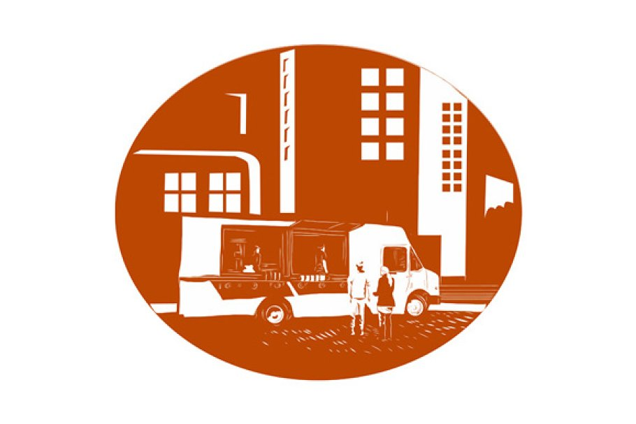 Food Truck City Buildings Oval  in Illustrations - product preview 8