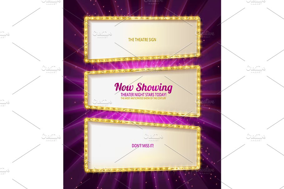 Gold frame retro comic design banner in Graphics - product preview 8